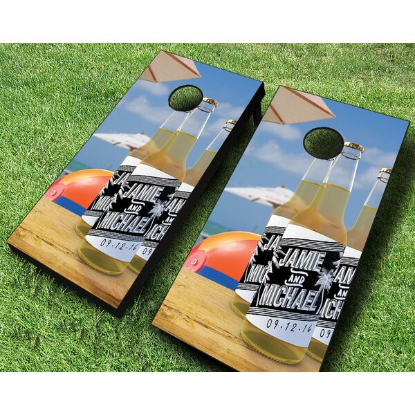 Beach Wedding Brew Cornhole Set by AJJ Cornhole