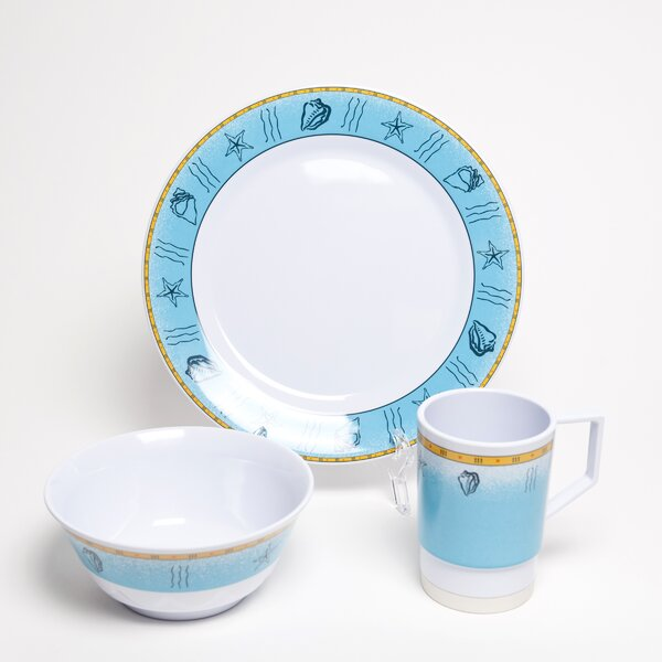 Decorated Offshore Melamine 12 Piece Dinnerware Set, Service for 4 by Galleyware Company