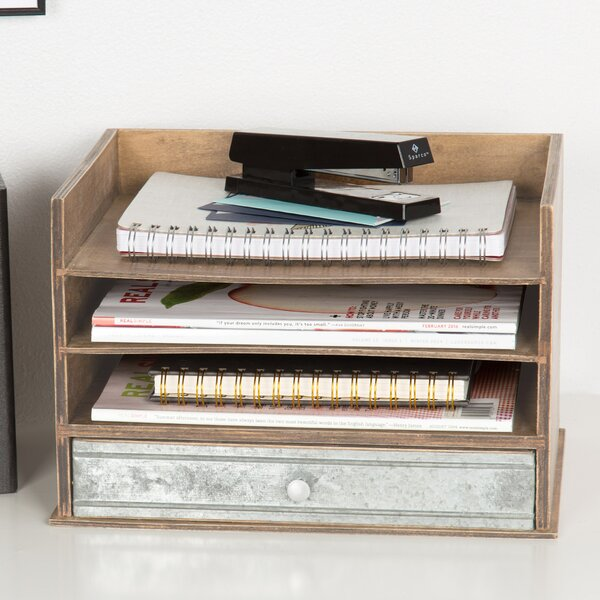 Industrious Desktop Wood Letter Tray with 3 Trays and Drawer by Kate and Laurel
