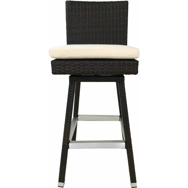 Mcgriff Swivel 30 Patio Bar Stool with Cushion (Set of 2) by Ivy Bronx