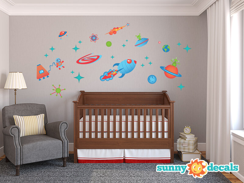 UFO AND ALIEN SPACESHIP SPACECRAFT OUTER SPACE Vinyl wall art sticker decal