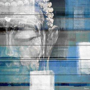 'Blue Buddha' by Parvez Taj Painting Print on White Wood by Parvez Taj