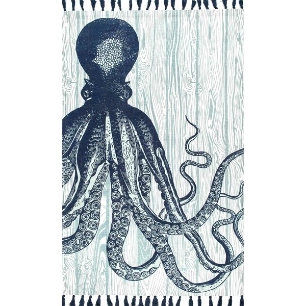 Octopus Hand-Woven Cotton Blue Area Rug by Thomas Paul