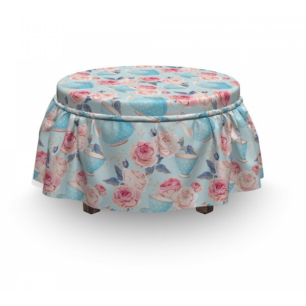 Teapots Roses Ottoman Slipcover (Set Of 2) By East Urban Home