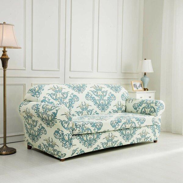 Printed Floral Box Cushion Sofa Slipcover by House of Hampton