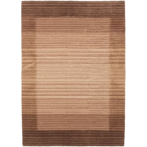 Moriah Hand-Knotted Beige/Dark Brown Area Rug by Red Barrel Studio