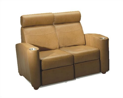 Diplomat Leather Home Theater Loveseat By Bass