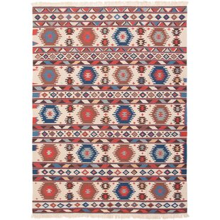 Lanford Handwoven Flatweave 7'10 x 10'9 Wool Ivory/Blue Area Rug by World Menagerie