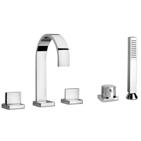Novello Double Handle Deck Mounted Roman Tub Faucet With Diverter And Handshower By LaToscana