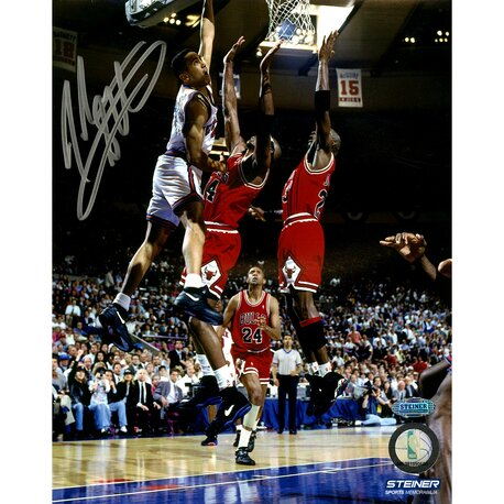 John Starks with Cartwright Dunk Vertical Photo Photographic Print by Steiner Sports