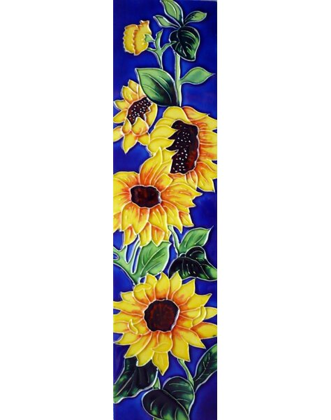 4 Sunflower Blue Background Tile Wall Decor by Continental Art Center