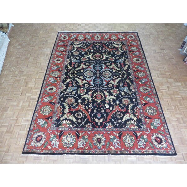 One-of-a-Kind Padro Serapi Heriz Hand-Knotted Wool Navy Blue Area Rug by Bloomsbury Market