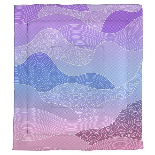 Avicia Hand Drawn Waves Single Reversible Comforter