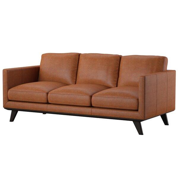 Norvin Leather Sofa By Mercury Row