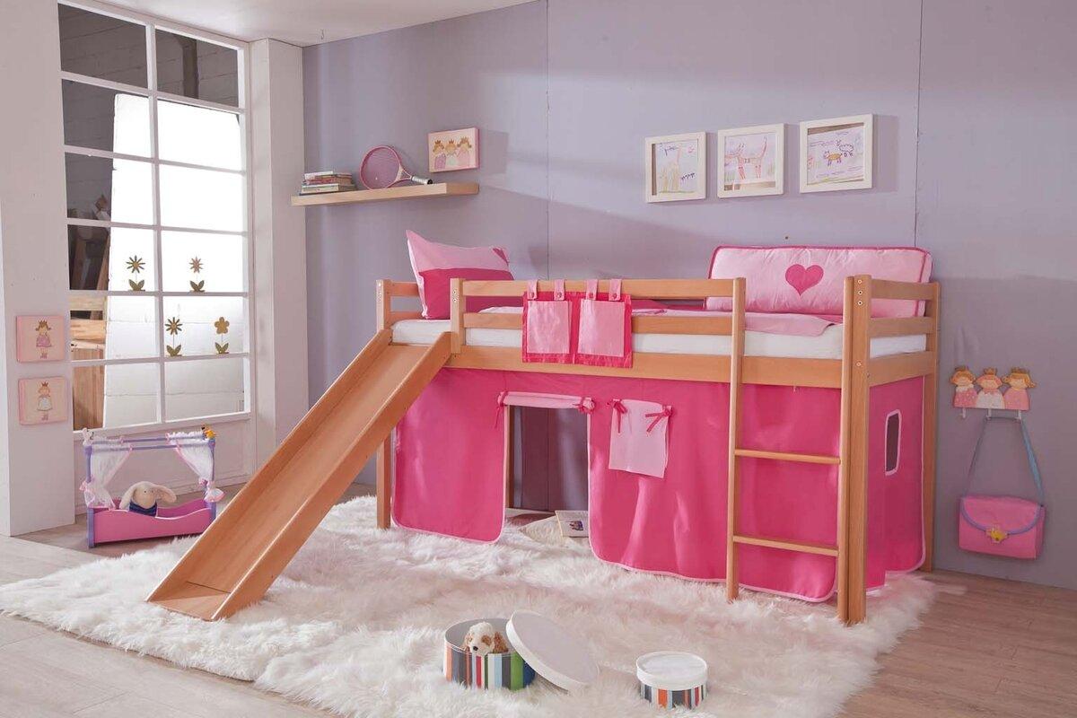 relita halbhochbett toby mit rutsche 90 x 200 cm. Black Bedroom Furniture Sets. Home Design Ideas