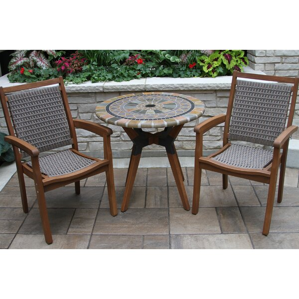 Moana Matte Stone 3 Piece Bistro Set by Beachcrest Home