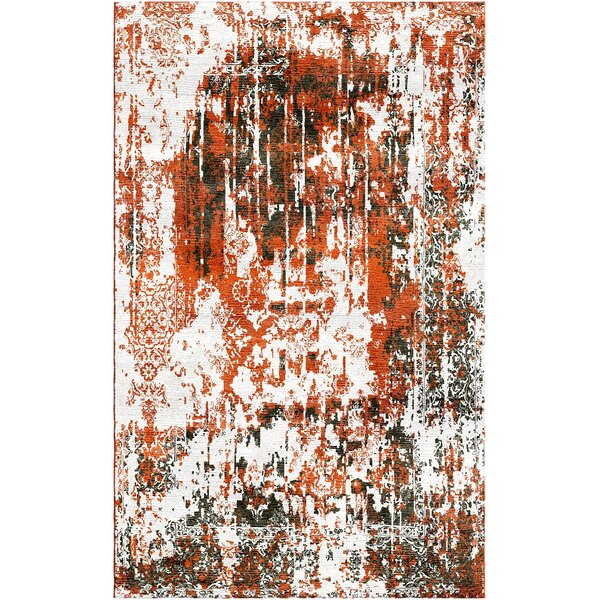 Aliza Handloom Orange Area Rug by Bungalow Rose