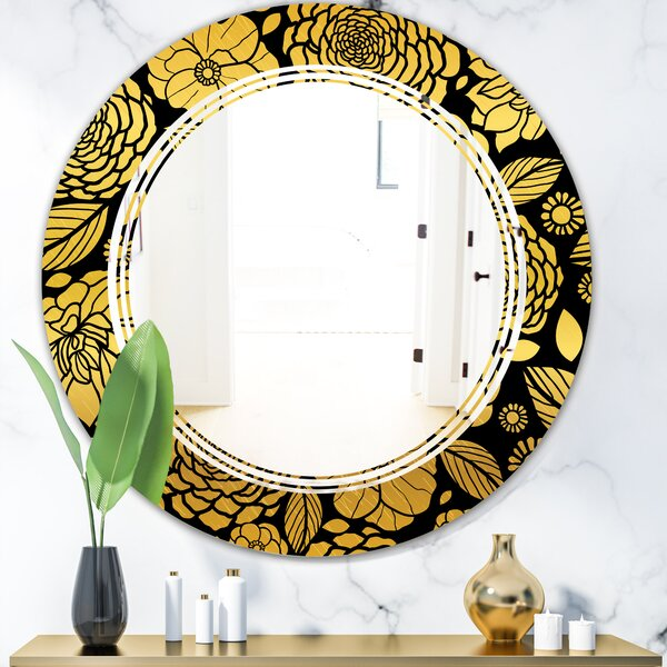 Floral II Triple C Traditional Frameless Wall Mirror