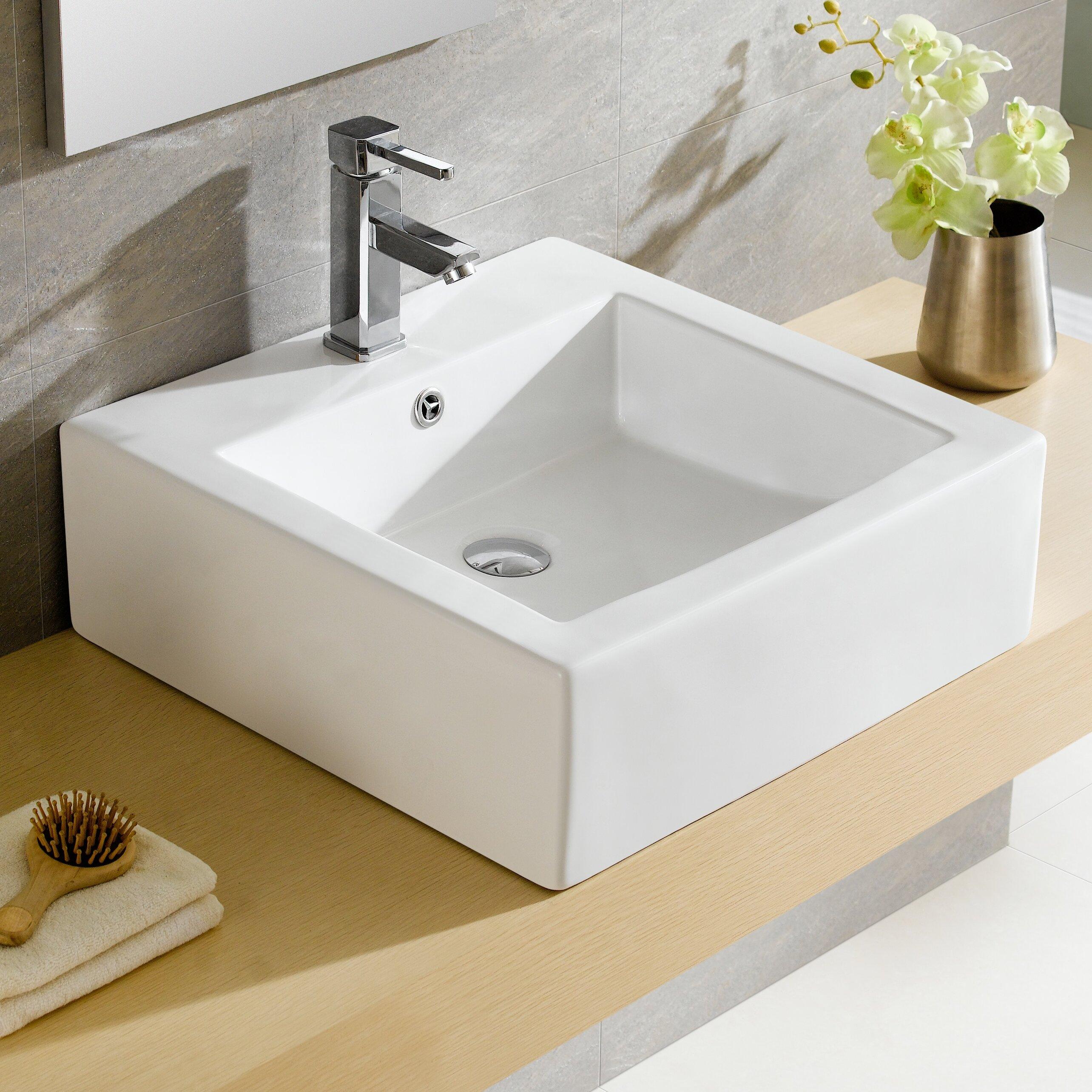 Fine Fixtures Modern Ceramic Square Vessel Bathroom Sink with ...