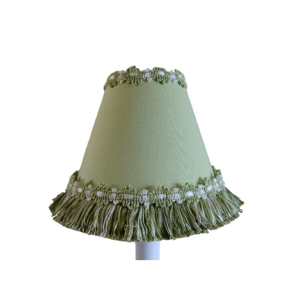 Soft Grass 7 H Fabric Empire Lamp shade ( Screw on ) in Green/White