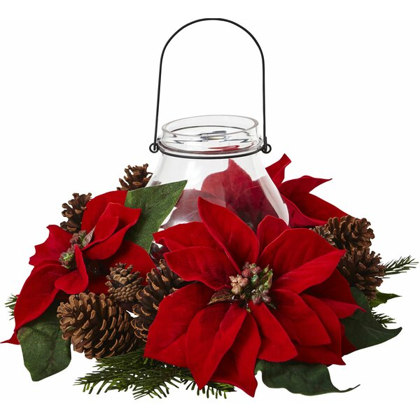 Poinsettia Pine and Pine Cone Candelabrum by Nearly Natural