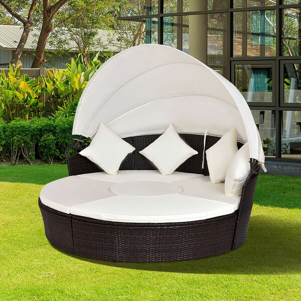 Sharleen Patio Daybed with Cushions by World Menagerie World Menagerie