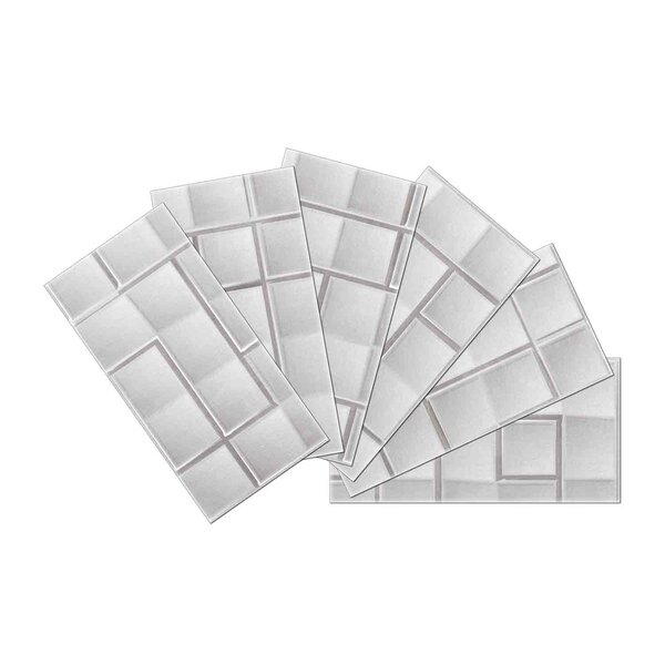 Crystal Skin 3 x 6 Glass Subway Tile in Silver by SkinnyTile