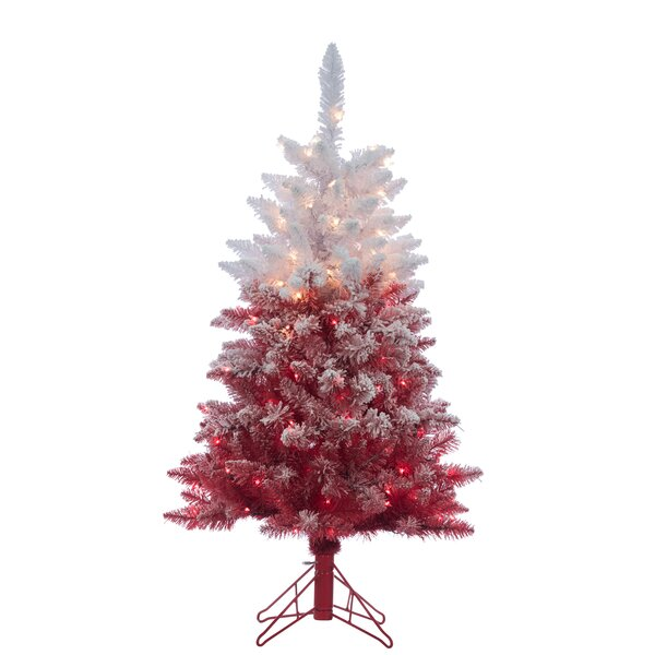 Flocked Red Artificial Christmas Tree Clear White Lights with Stand by The Holiday Aisle