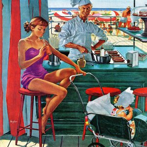 Babysitter at Beach Stand by George Hughes Painting Print on Wrapped Canvas by Marmont Hill