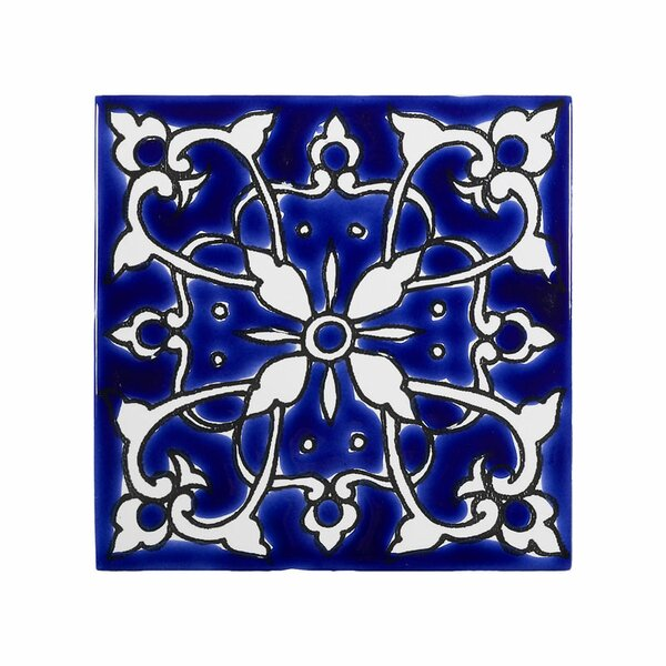 Mediterranean 4 x 4 Ceramic Azur Decorative Tile in Blue/White by Casablanca Market