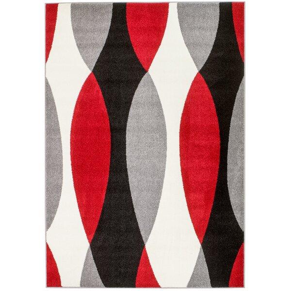 Grimes Gray/Black/Red Area Rug by Orren Ellis