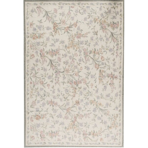 One-of-a-Kind Aubusson Renaissance Hand-Knotted Cream 10'11 x 16' Wool Area Rug
