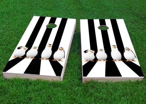Penguin Lineup Cornhole Game (Set of 2) by Custom Cornhole Boards