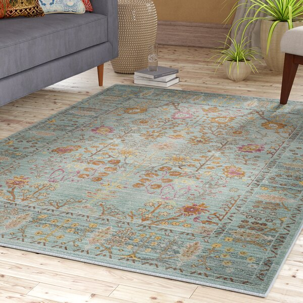 Privette Power Loom Stone Blue Area Rug by Bungalow Rose