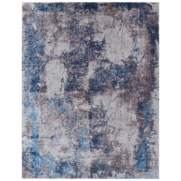 Roset Hand-Woven Ivory/Blue Area Rug by Exquisite Rugs