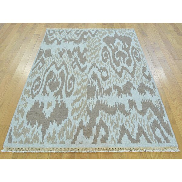 One-of-a-Kind Blassingame Soumak Ikat Design Handwoven Gray Wool Area Rug by Isabelline