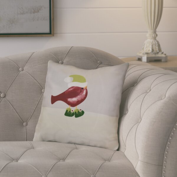 Merry Christmas Bird Throw Pillow by August Grove