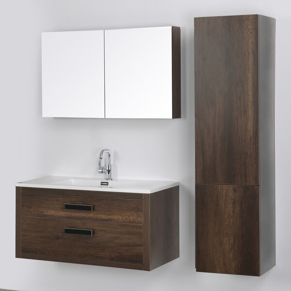 39 Wall-Mounted Single Bathroom Vanity Set with Mirror