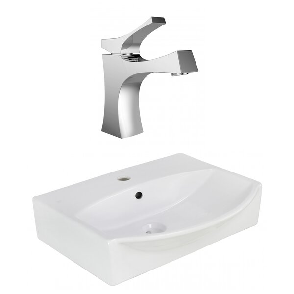 Ceramic U-Shaped Bathroom Sink with Faucet and Overflow by American Imaginations