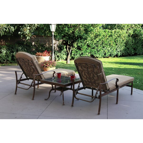Palazzo Sasso 3 Piece Chaise Lounge Set with Cushions by Astoria Grand