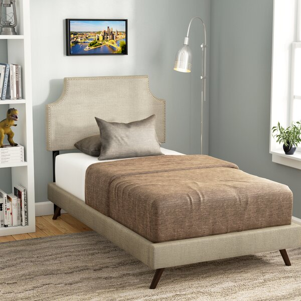 Corene Twin Vinyl Platform Bed with Round Splayed Legs by Trule Teen