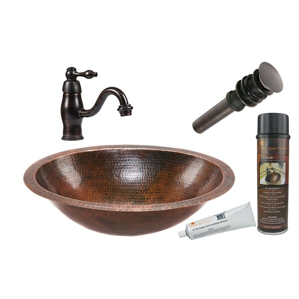 Oil Rubbed Bronze Metal Hand Hammered Oval Undermount Bathroom Sink with Faucet
