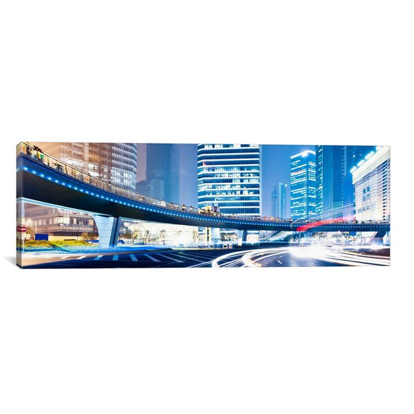 Panoramic Streets at Night in the City Panoramic Skyline Cityscape Photographic Print on Wrapped Canvas by iCanvas