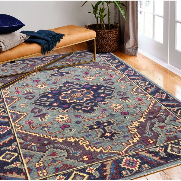 Kurtis Hand-Knotted Wool Teal Area Rug by Mistana