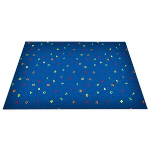 Blue Scattered Letters Area Rug