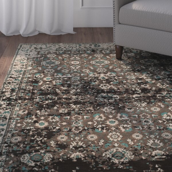 Albion Green/Beige Area Rug by Charlton Home
