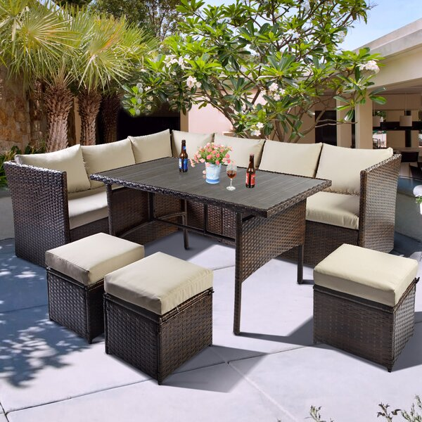 Felicite 7 Rattan Complete Patio Set with Cushions by Ebern Designs