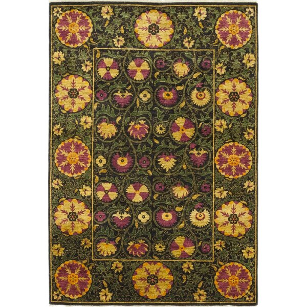 One-of-a-Kind Heilman Hand-Knotted Wool Green Indoor Area Rug by Bloomsbury Market