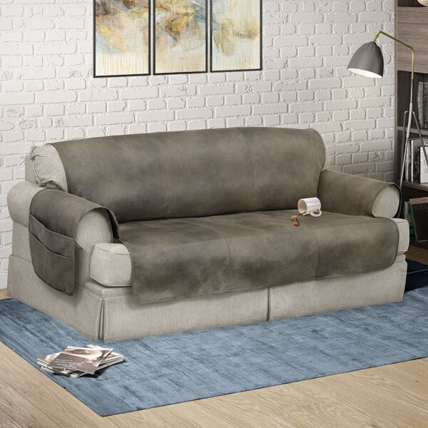 Faux Leather Box Cushion Sofa Slipcover By Serta