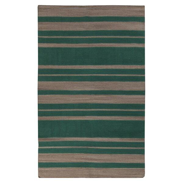 Kramer Emerald Green & Silver Cloud Striped Area Rug by Winston Porter